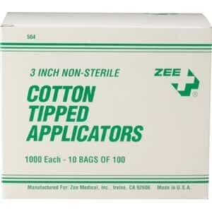 "ZEE Medical Cotton Tip Applicators 3"" 100 vial"