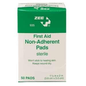 "ZEE Medical Sterile Non-Adherent Pads 1 1/2 x 2"" 50 BX"
