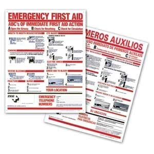"First Aid Instruction Sign English 19"" x 24"""