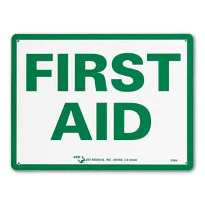 "ZEE Medical First Aid Sign 9"" x 12"""