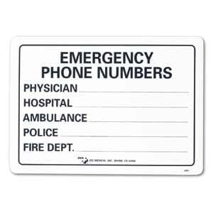 "ZEE Medical Emergency Phone Numbers, 10"" x 14"""