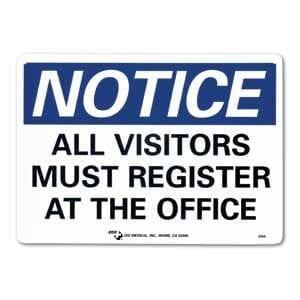 "ZEE Medical All Visitors Must Register, 10"" x 14"