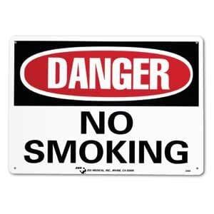 """ZEE Medical Danger No Smoking, 10"""" x 14"""""""