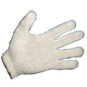 Bleached White Cotton Knit Gloves